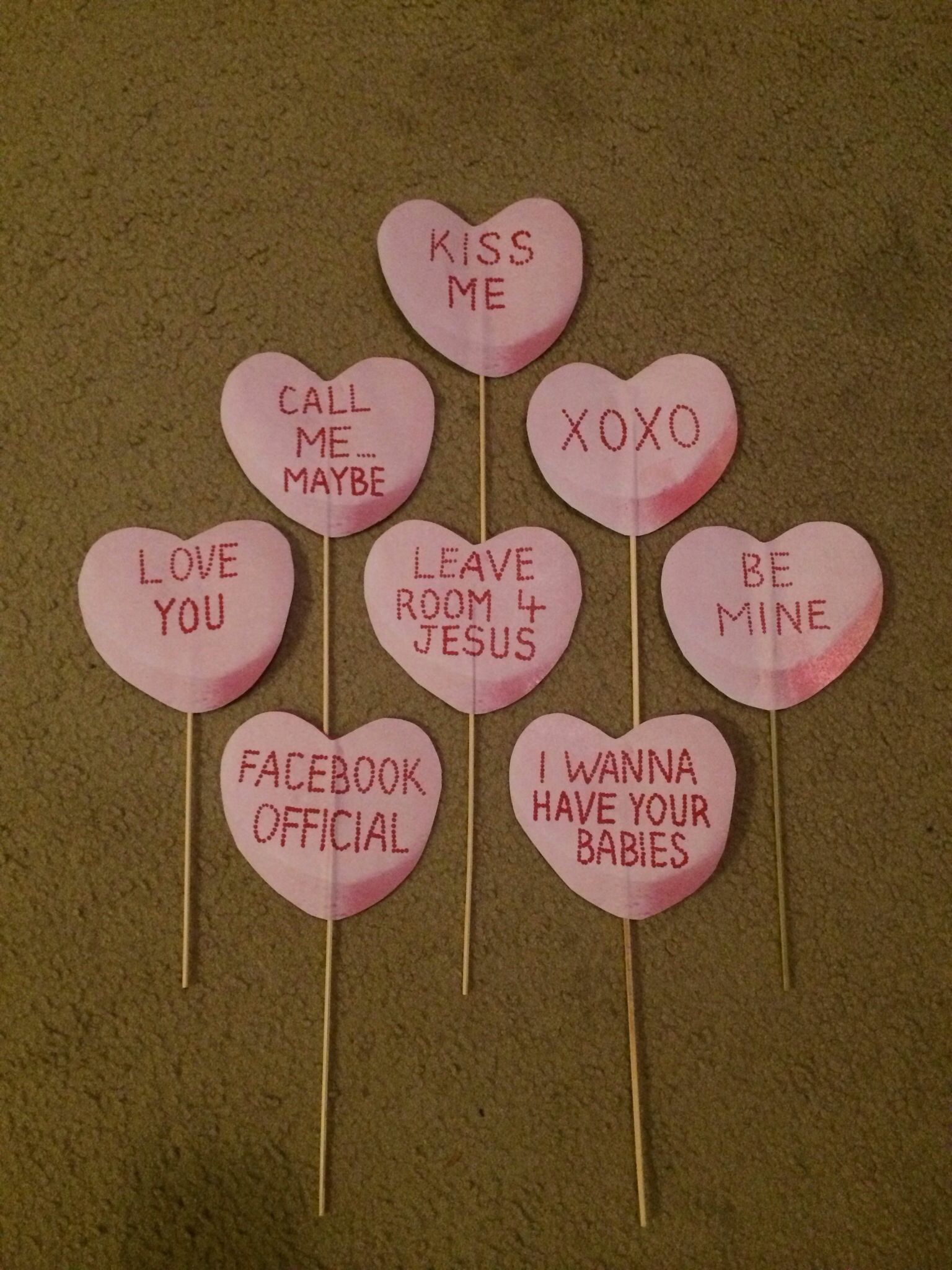 Handmade Cardboard Candy Hearts With Custom Messages Great Props For A Wedding Or Valentine S Day Photo B Valentines Day Photos Best Friend Crafts Heart Candy