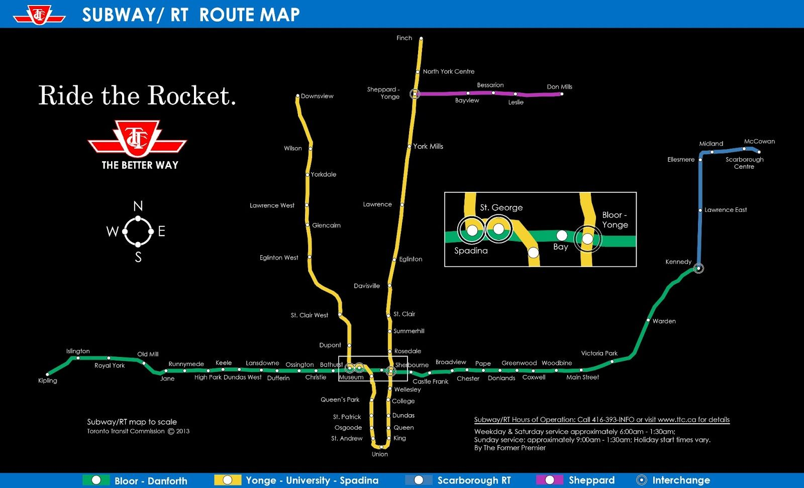 Bloor Danforth Subway Map.Ttc Subway Map To Scale Infographics Subway Map Scale Map