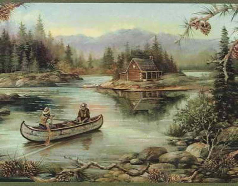 Cabin Fishing Pinecone Peek Through Wallpaper Border Wildlife Wallpaper Wallpaper Border Outdoor Art