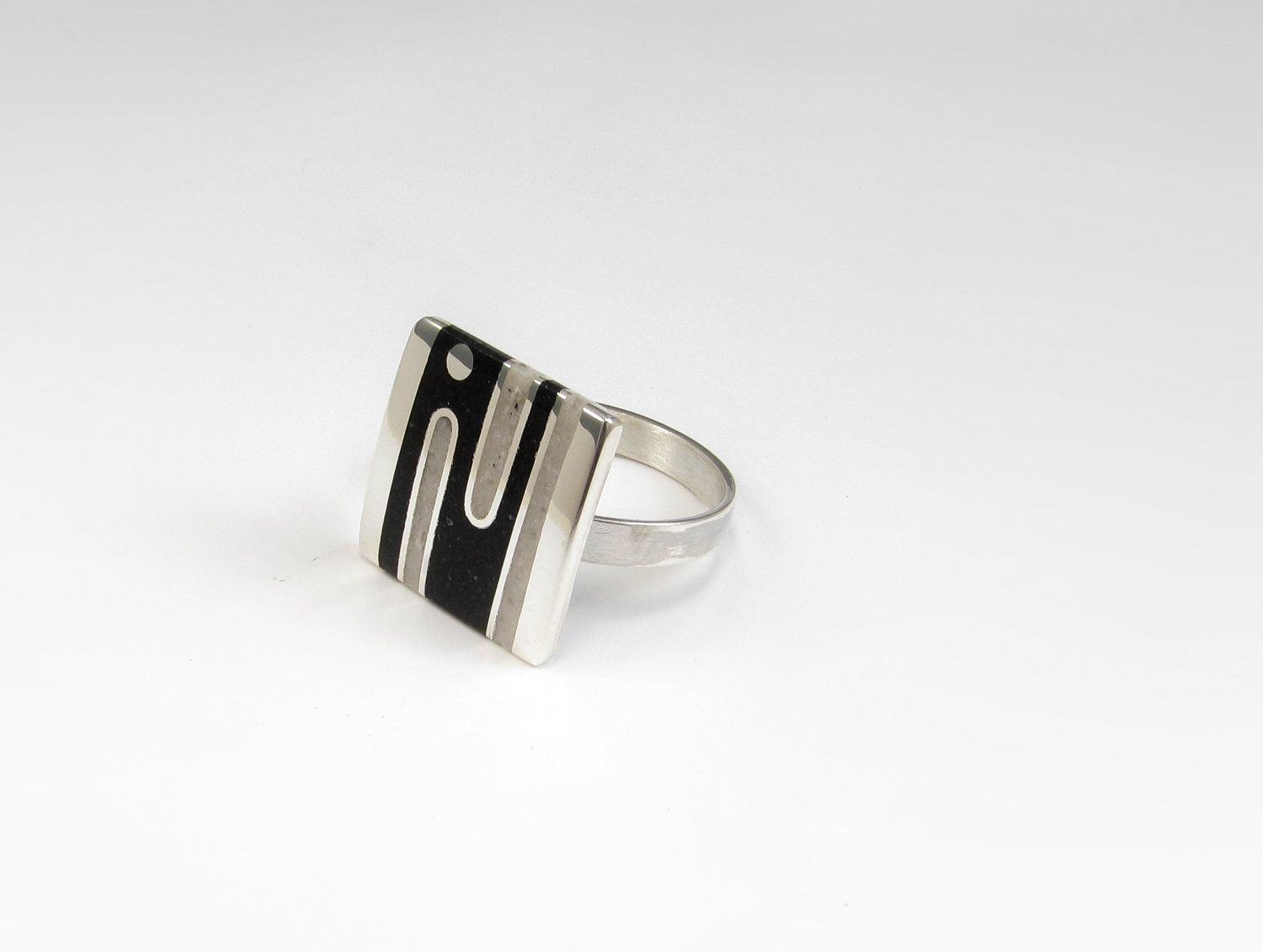 Sterling Silver Ring Black White Geometric Contemporary Modern (55.00 USD) by maldonadojoyas