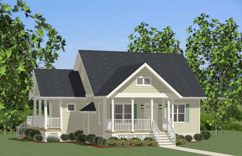 One Story Cottage Ranch House | Cabin U0026 Cottage House Plan Front Of Home    139D