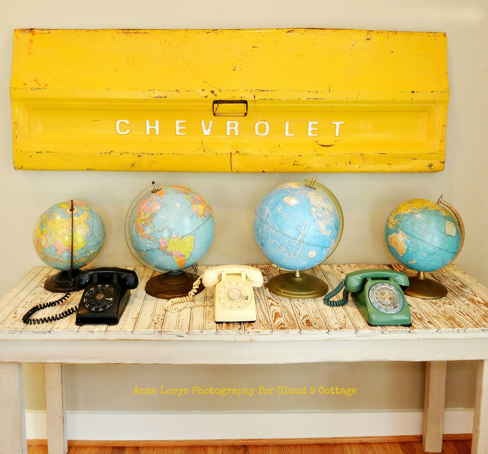 Upcycled Wall Decor - retro sign, rotary phones & globes - vignette ...