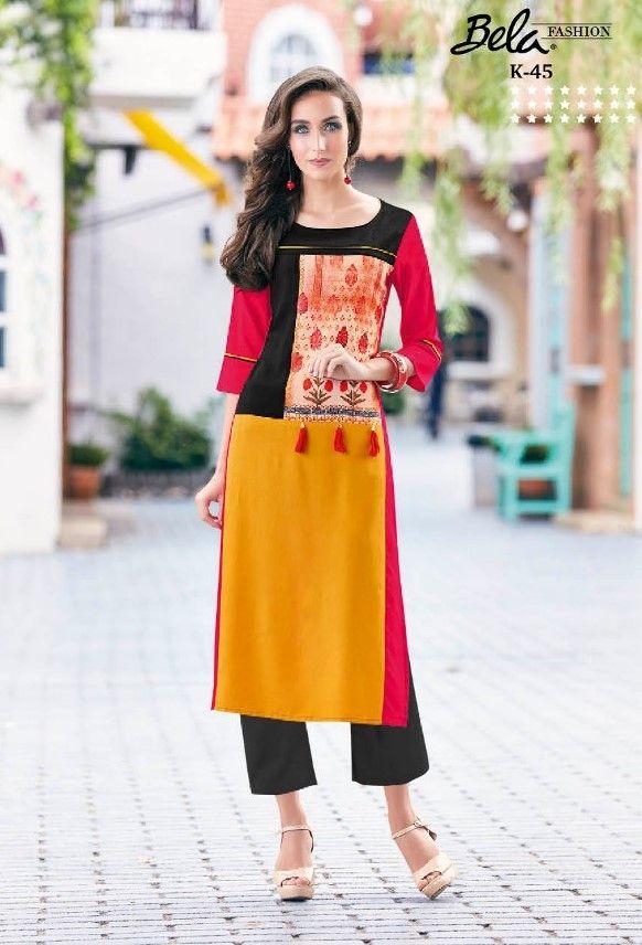 Fashion Supplier Apparel Sarong Announces The New: Bela Life Style Vol-3 Rayon Designer Kurtis (9 Pc Set