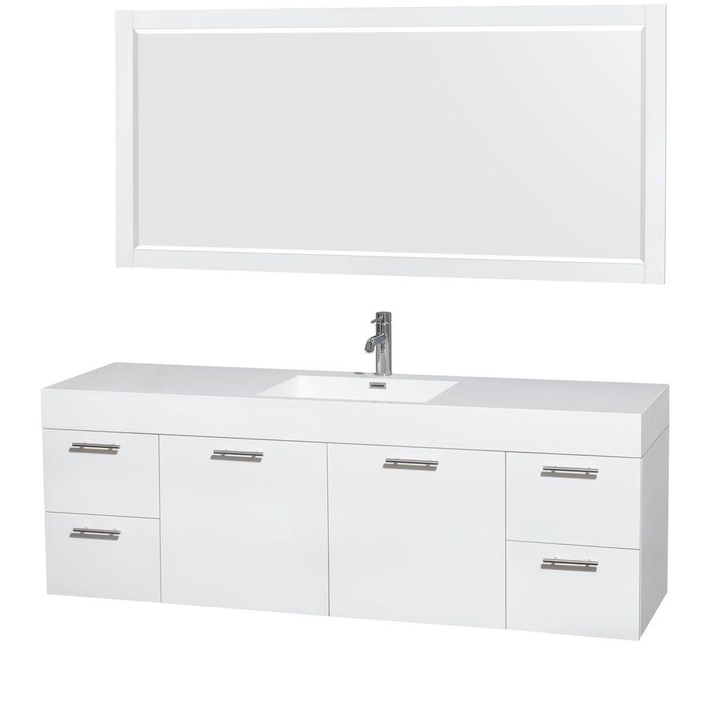 Wyndham Collection Amare 72 In Vanity In Glossy White With