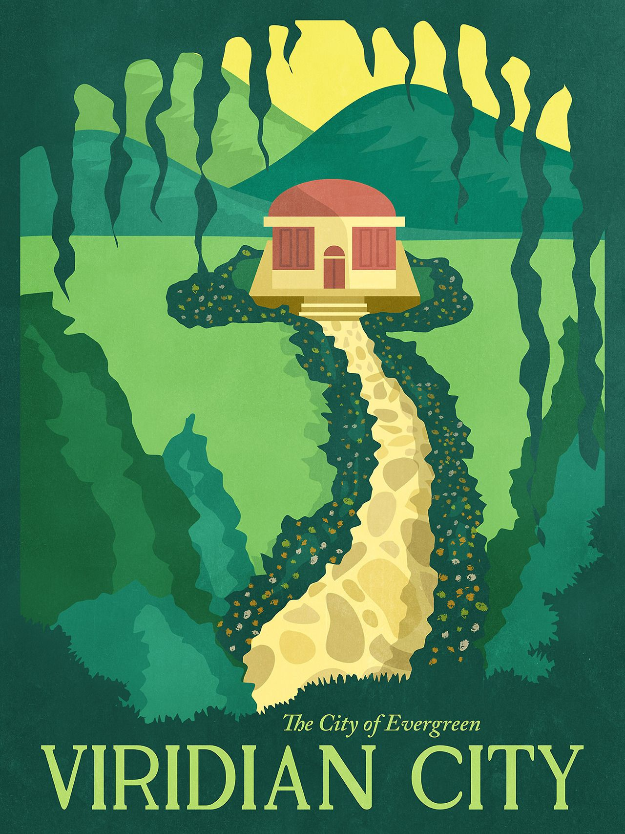 """Pokemon Travel Poster - Viridian City """"A beautiful city that is enveloped in green year-round"""""""
