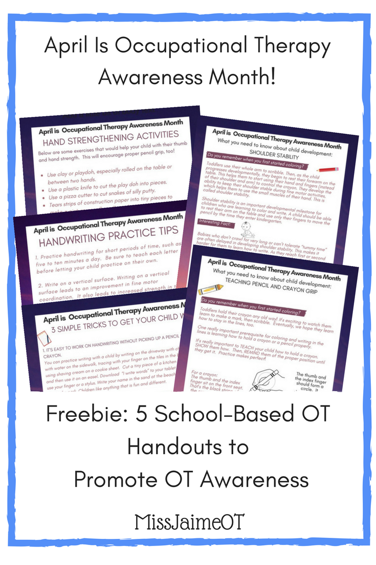 Promote School Based Ot With  TeacherParent Handouts Free For