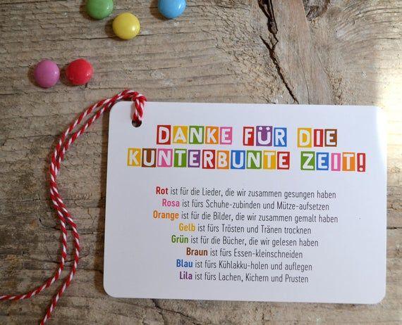 3 x Danke Abschied KiTa Kindergarten Postkarte Anhänger