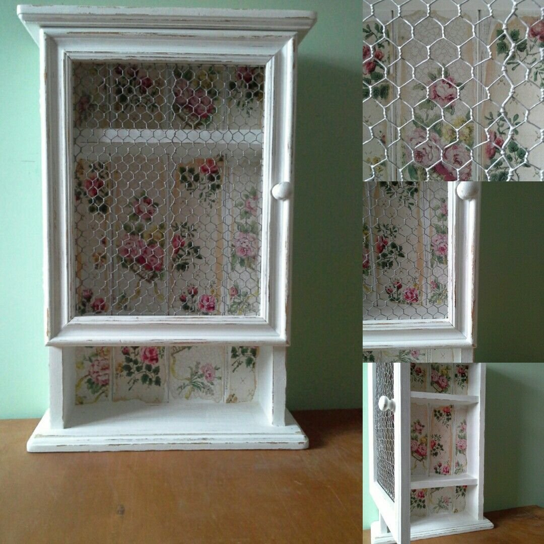 Added Paint, Antique Wallpaper And Vintage Chicken Wire To