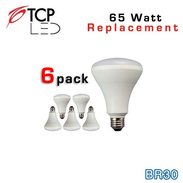 TCP LED BR30 6 Pack - 65 Watt Equal - 10W - Non-Dimming - Flood Light Bulb