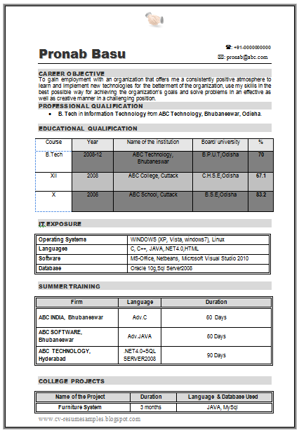 b com resume samples cv format for freshers students - Sample Resume For Bcom Computers Freshers