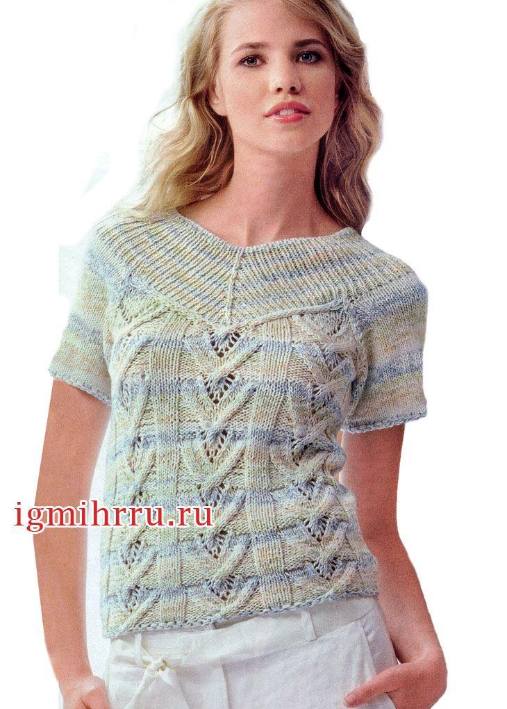 женственный меланжевый пуловер с ажурным узором вязание спицами