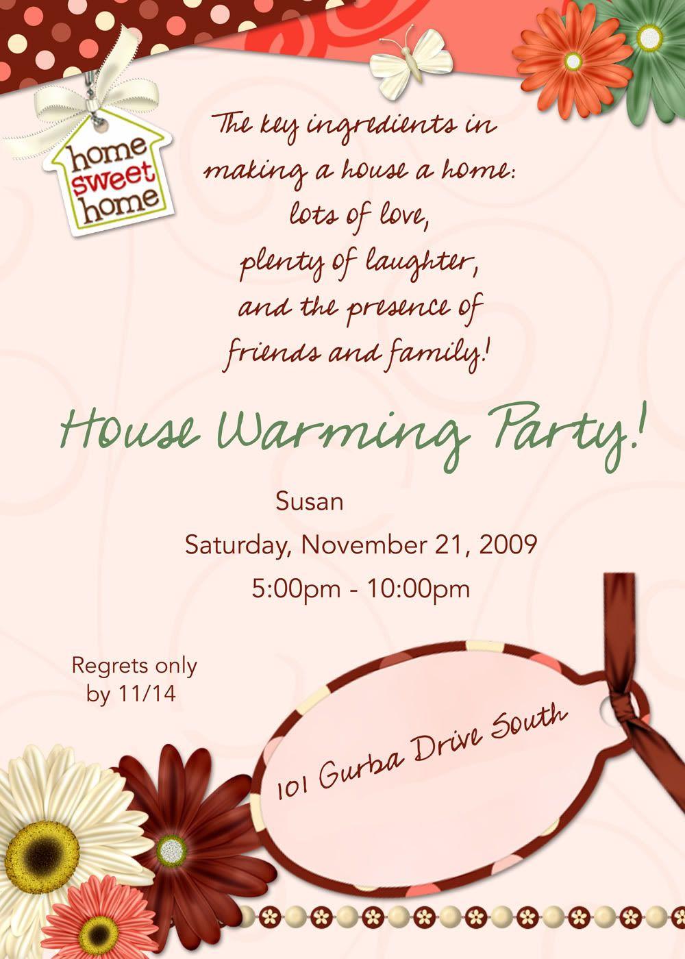 house warming invitation wording samples