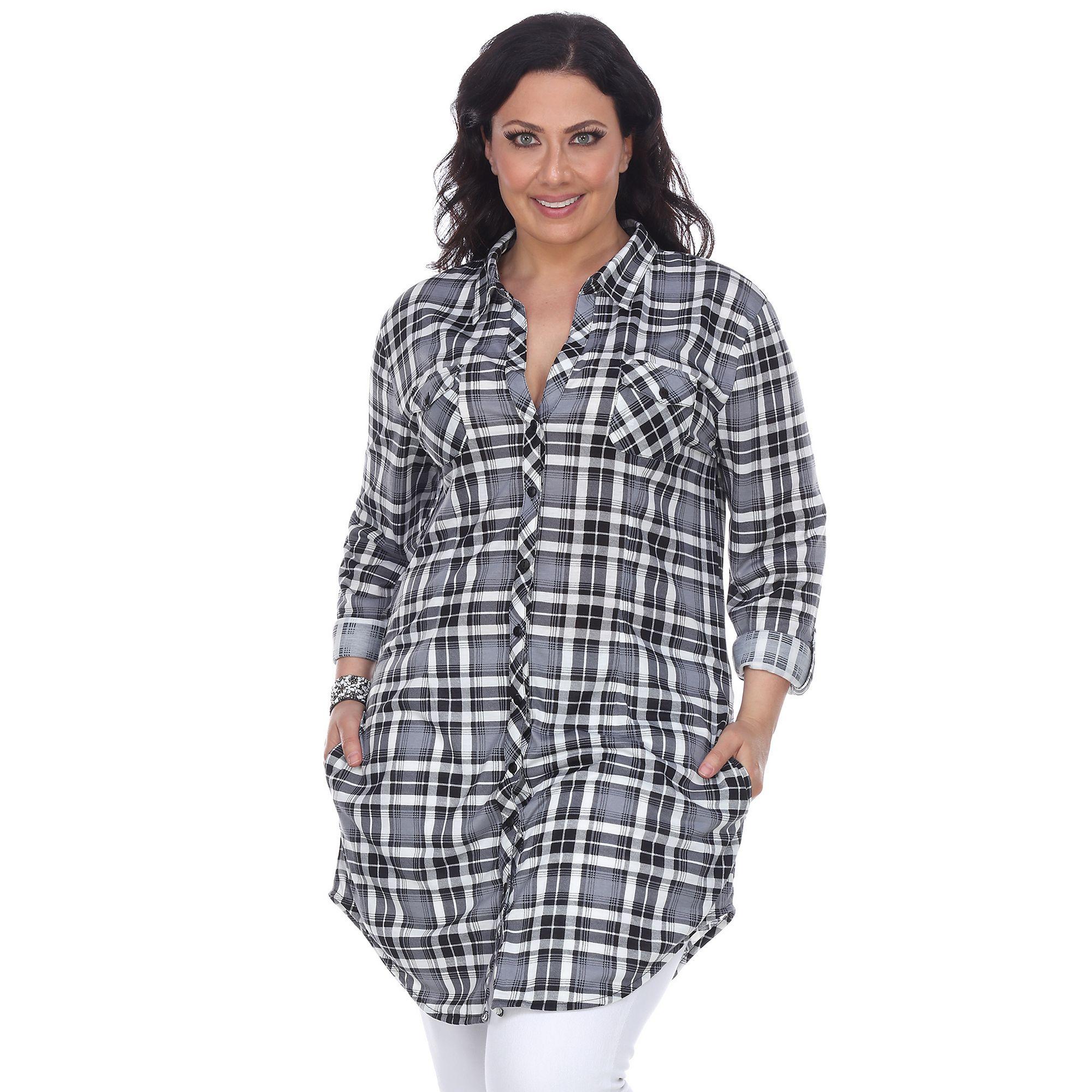 Flannel cardigan womens  Plus Size White Mark Plaid Flannel Tunic Womenus Size XL