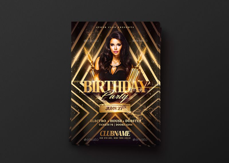 Gold Birthday Party Psd Flyer Template by RomeCreation on - birthday flyer template