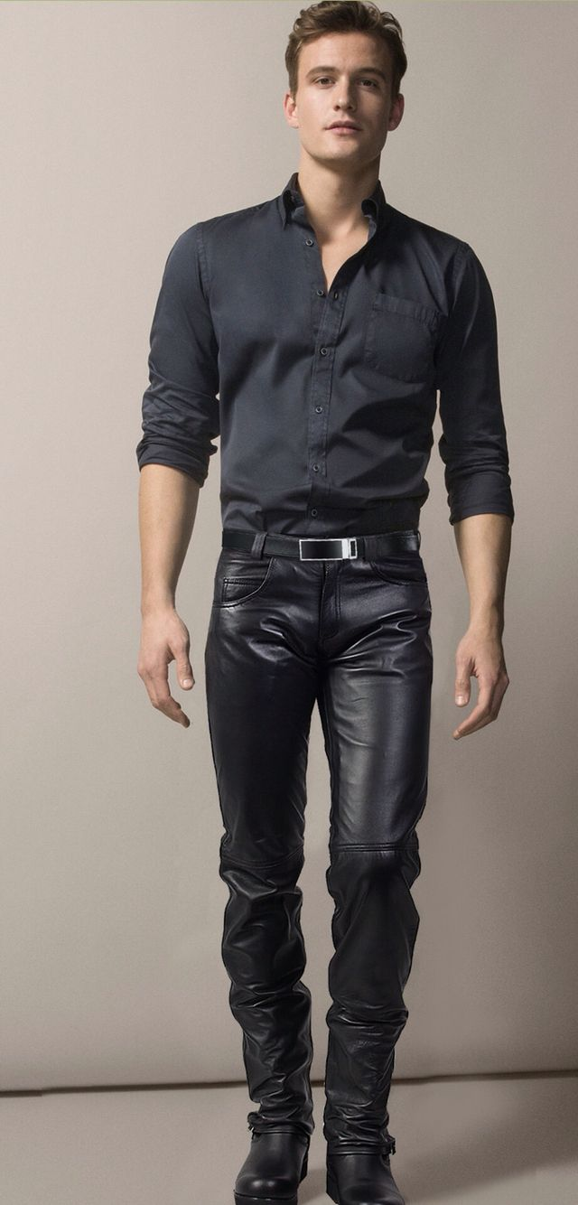Casual leather calças pinterest leather man style and menus