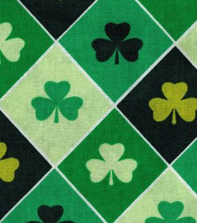 St. Pat's Print Fabric-Argyle Shamrocks Green