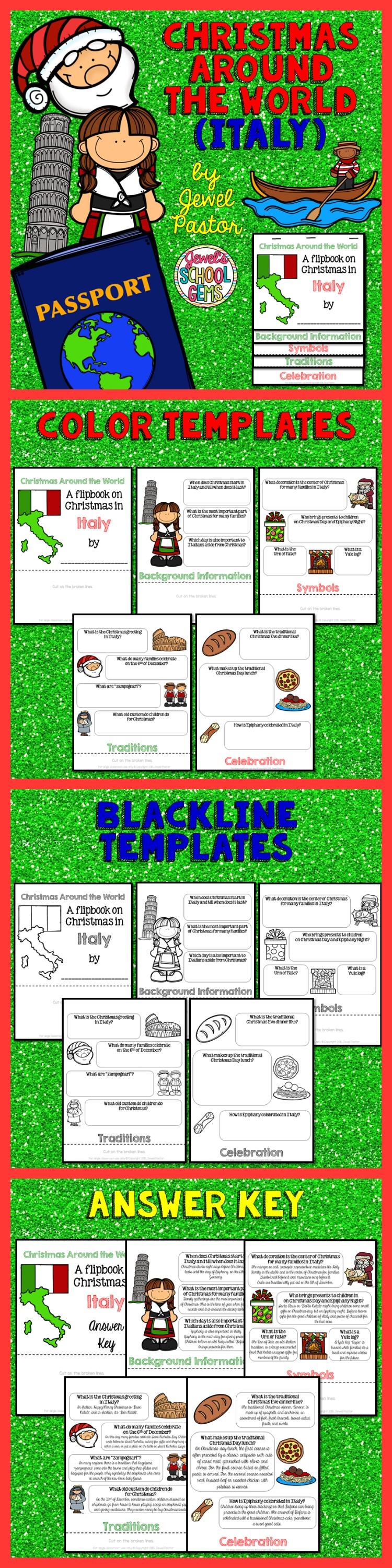 """CHRISTMAS AROUND THE WORLD   """"Christmas Around the World (Italy)"""" is the perfect Christmas Around the World activity this Christmas.  This resource contains: *5 pages of color templates *5 pages of black and white templates *5 pages with answers to the questions (Answer Key)  Children will learn about Christmas traditions and celebrations in Italy in a fun and interactive way with this Christmas Around the World flipbook research project!  Please see Preview to see the color templates"""