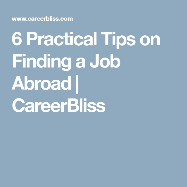 tips to finding a job