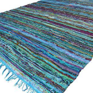 Light Blue Chindi Woven Rag Rug - 3.5 X 5.5'