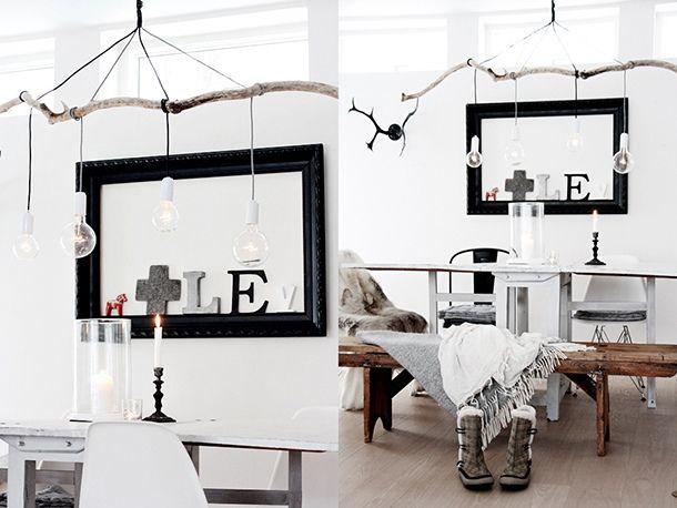 holz lampen esszimmer rustikal glühbirnen skandinavischer stil, Esszimmer