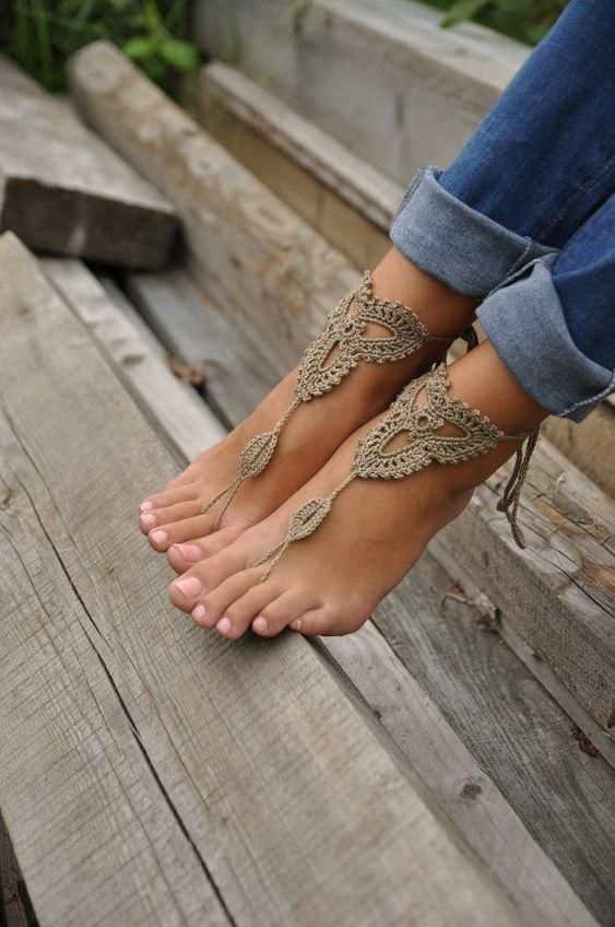 Crochet Barefoot Sandals Tan Black Or White Beach Shoes Foot Jewelry Lace Up Leg Wear Them At The Pool With Flip Flops Or Out With High Heelsbarefoot