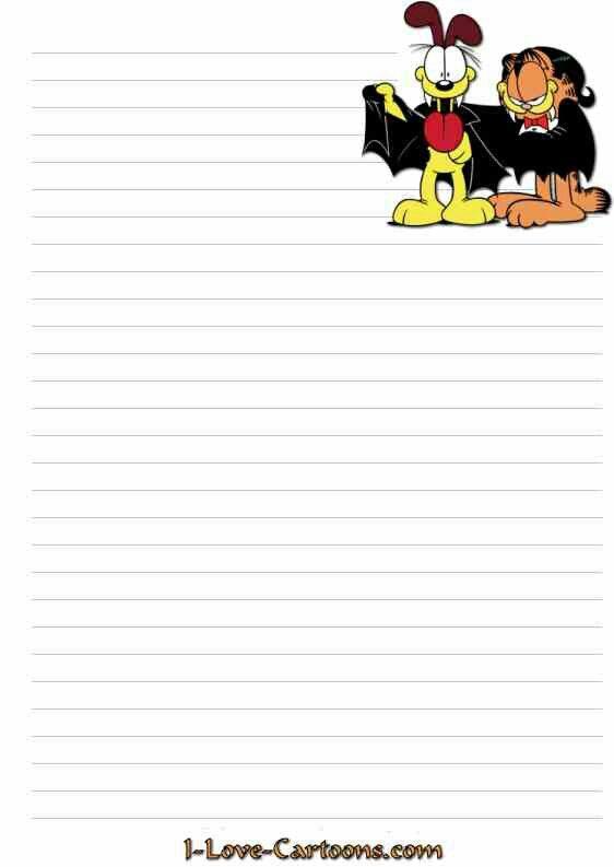 Garfield right BORDERS- Garfield Stationary Free printable
