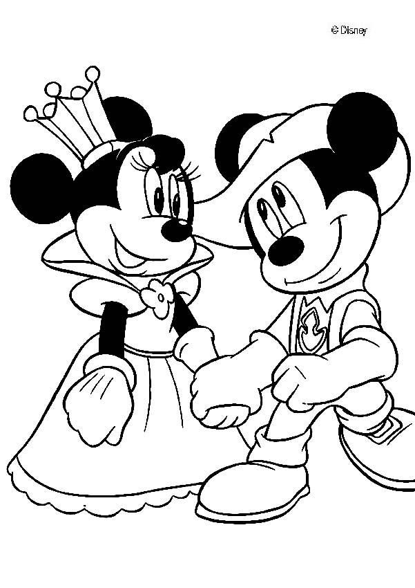 Free Minnie Mouse Printables Mickey Mouse Coloring Pages Queen Minnie And Knight Mickey Mouse Kleurplaten Disney Kleurplaten Mickey Mouse