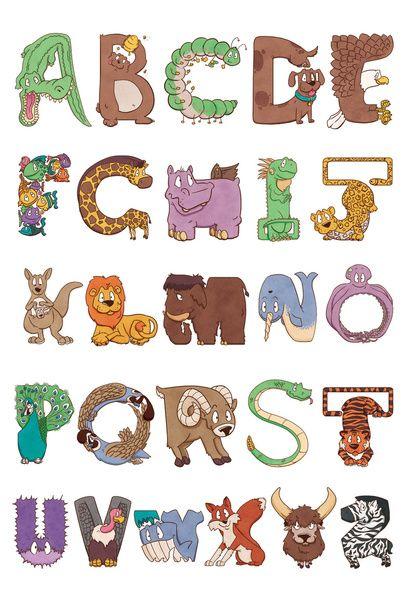 bendy zoo alphabet animals art print by drake sauer society6 - Fun Letters To Print