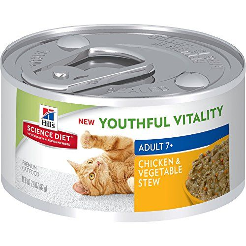 Hill S Science Diet Adult 7 Youthful Vitality Chicken Vegetable Stew Canned Cat Food 2 9 Oz 24 Pack Cats With Images Hills Science Diet Science Diet Canned Cat Food
