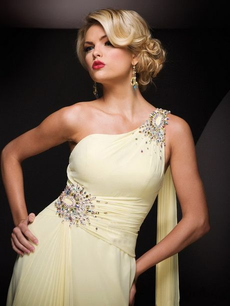 Prom Hairstyles For One Shoulder Dresses Dress Hairstyles Beaded Prom Dress Yellow Evening Gown
