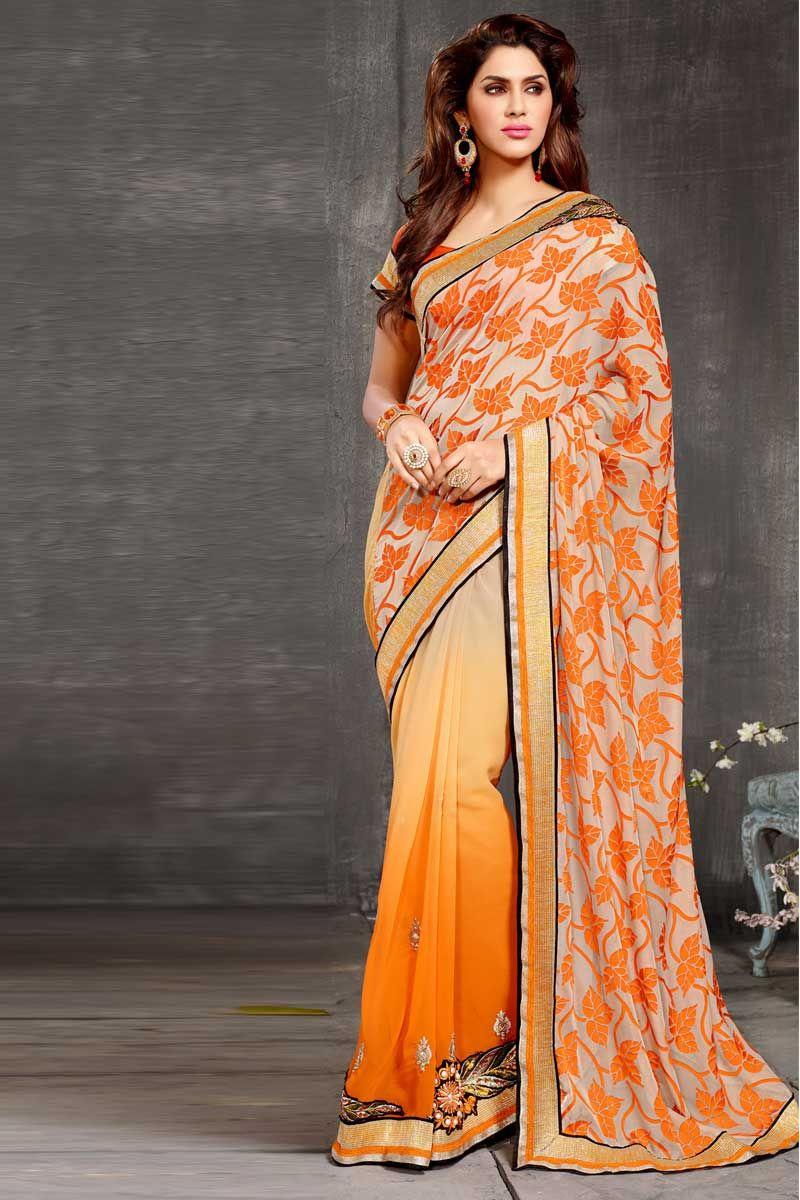 crème à l'orange sari georgette avec chemisier en soie d'art Prix:-56,77 € collecte de sari festival de design avec blouse sont maintenant en magasin présenté par Andaaz la mode comme la crème d'orange georgette sari avec chemisier en soie d'art. ce sari est agrémenté de broderies, patch, Resham, pierre, Zari, http://www.andaazfashion.fr/cream-orange-georgette-saree-with-art-silk-blouse-dmv7773.html