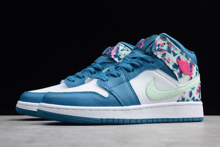 27a4d6d207e3 2019 New Air Jordan 1 Mid White Blue Pink Green Girls Size-5