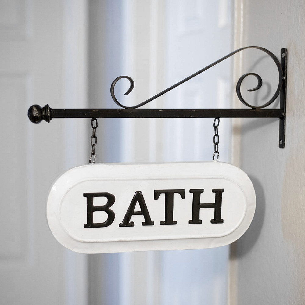 Metal Bath Sign Wall Hanging With