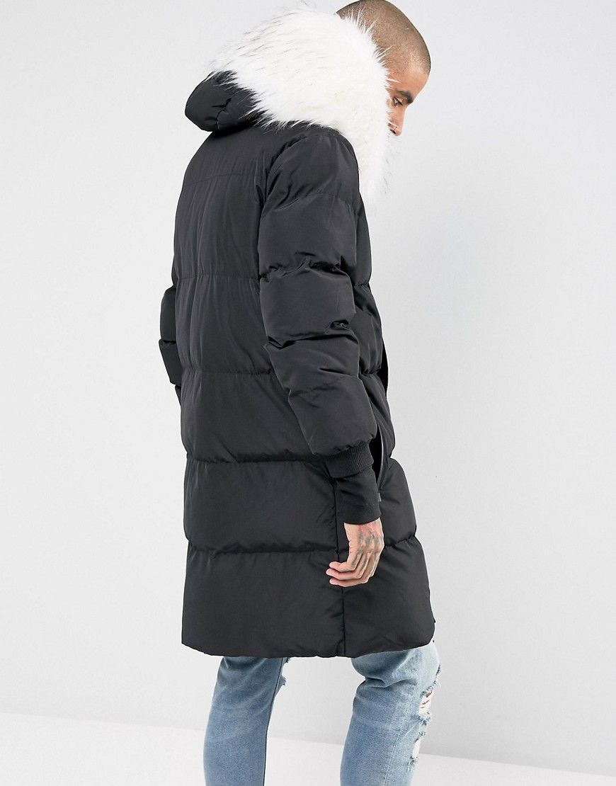 14908ac6e Sixth June longline puffer jacket in black with faux fur hood ...