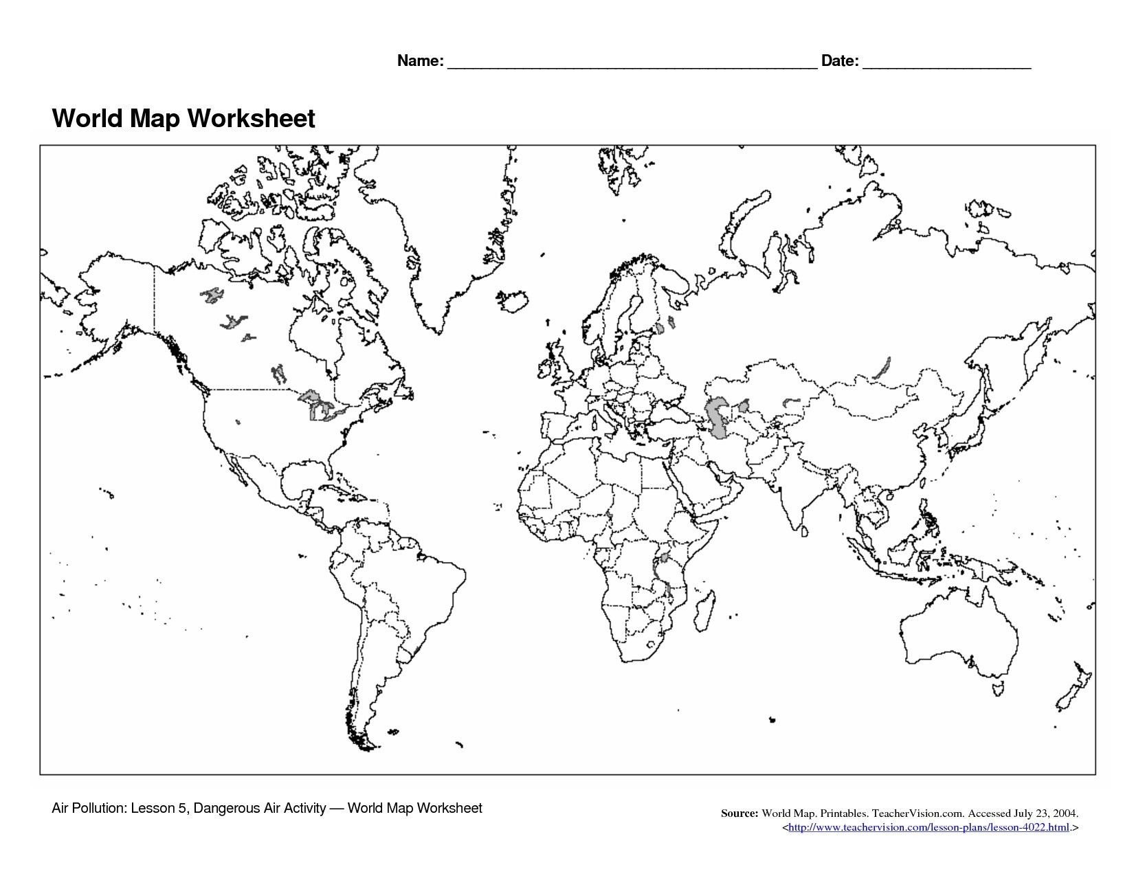 Blank World Map Quiz World Map Quiz Continents Copy Oceans and Continents Map Quiz by