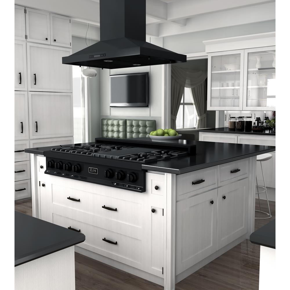 Zline Kitchen And Bath 48 In Ceramic Gas Rangetop In Black Stainless With 7 Gas Burners Rtb 48 The Home Depot Range Hood Island Range Hood Kitchen Installation