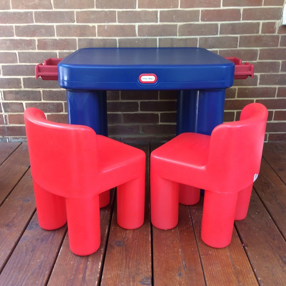 Lot Vintage Little Tikes Plastic Table Drawers Chunky Red Chairs