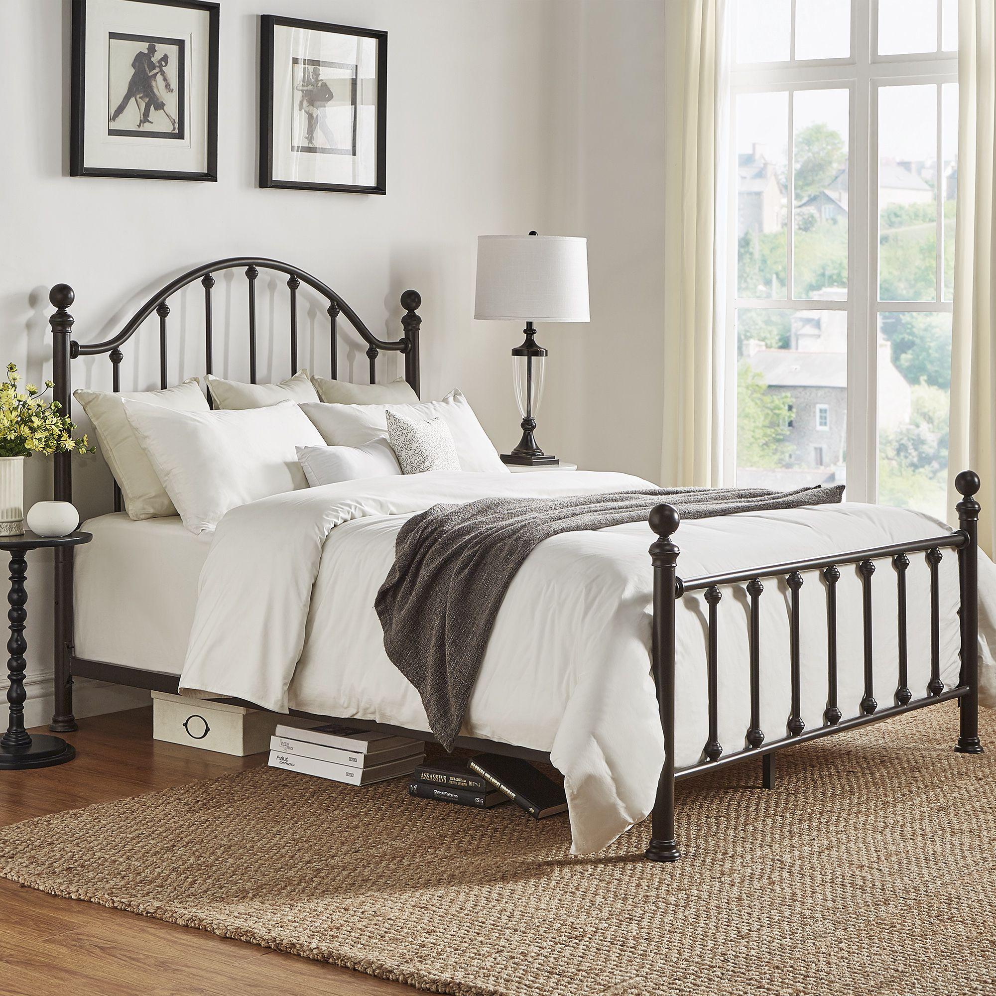 418be6a49d8f67 Tribecca Home Barnes Dark Bronze Victorian Metal Bed ([Queen]- Dark Bronze),  Black