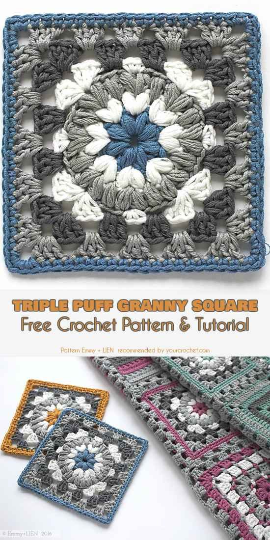 Triple Puff Granny Square for Blanket or Coaster Free Pattern and ...