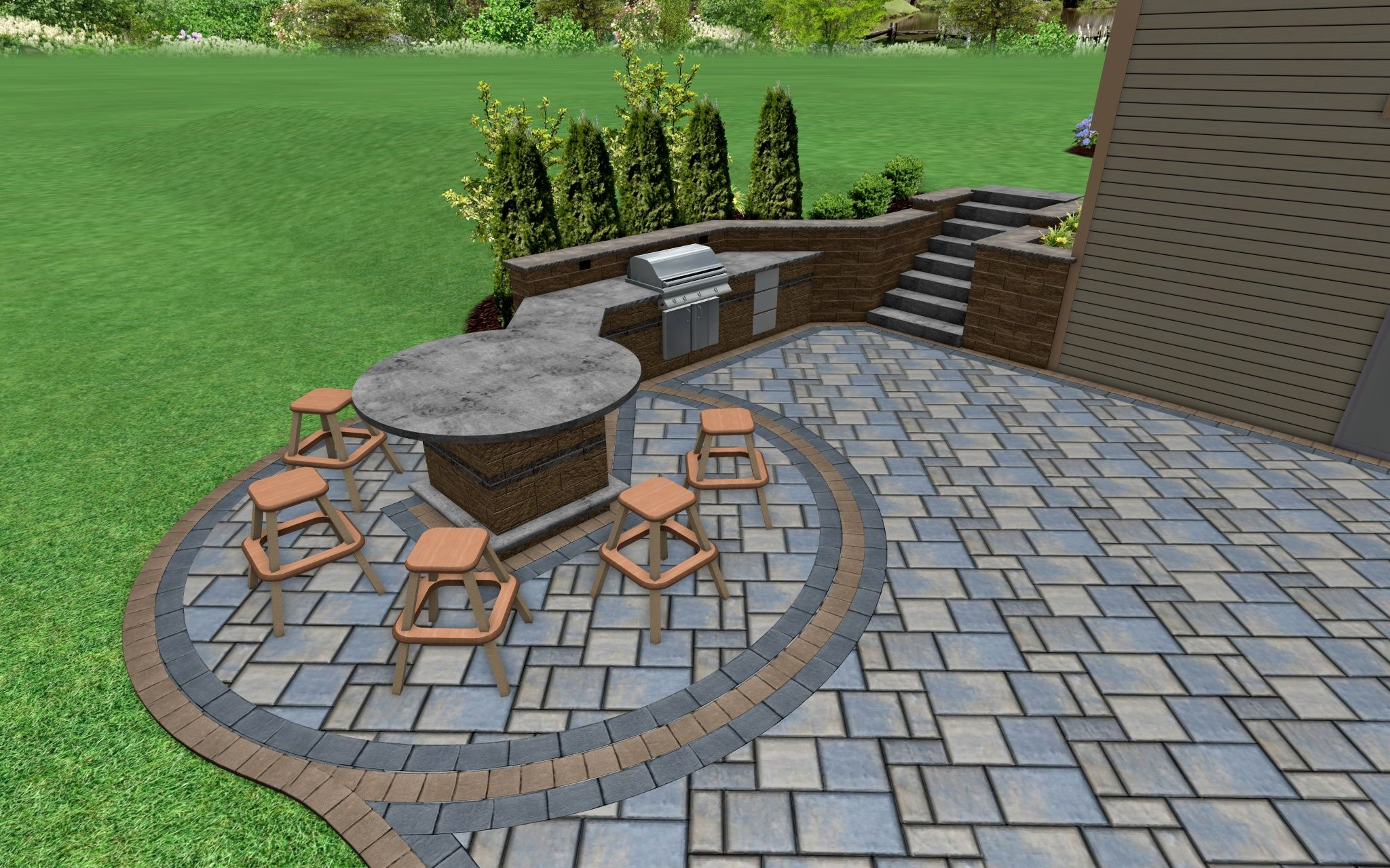 3d Design Outdoor Kitchen And Raised Bar Landscape Design Software Landscape Architect Software Design