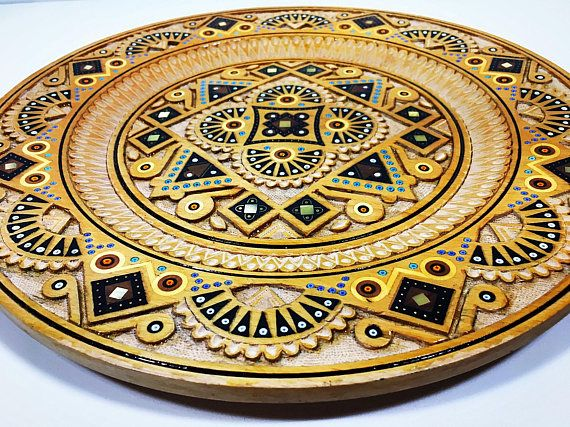 Vintage Wood Carved Moroccan Style Plate, Decorative Hand Carved ...