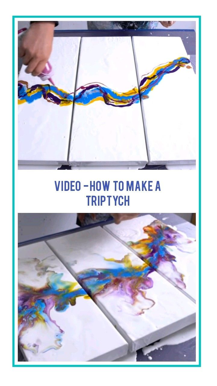 Acrylic pour triptych tutorial by rinske douna How to make a fluid triptych abstract painting video