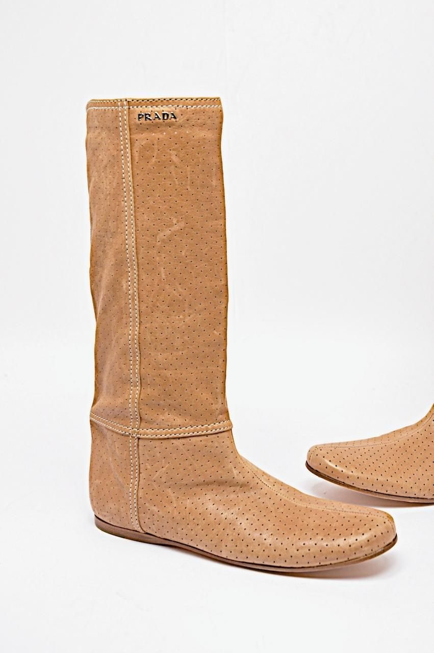 38d718cf7c1191 Prada Distressed Perforated Soft Leather Cognac Boots. Get the must-have  boots of this season! These Prada Distressed Perforated Soft Leather Cognac  Boots ...