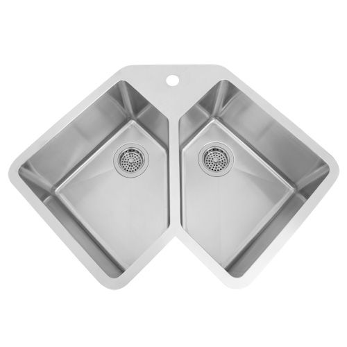 "33"" Infinite Corner Stainless Steel Undermount Sink  Corner Sink Prepossessing Corner Sink Kitchen 2018"
