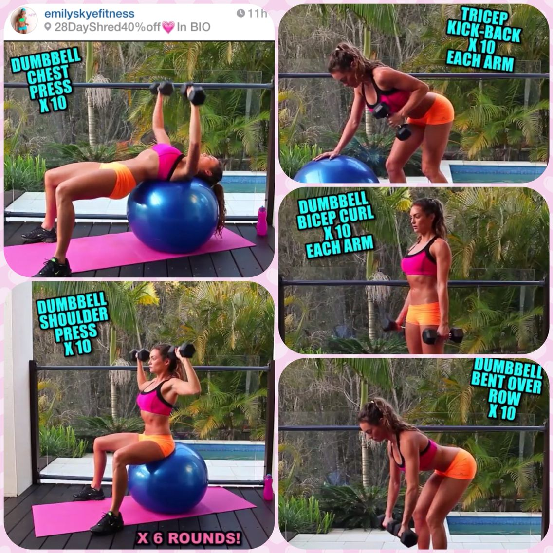 Arm day by Emily Skye. Do 10 of each set, 6 times around! I could only do 3 times last night after running...might want to do 3 times, run half as much, then finish the other 3 times. Love this chicks instagram. She's so helpful! #EmilySkyeFitness #ArmDay