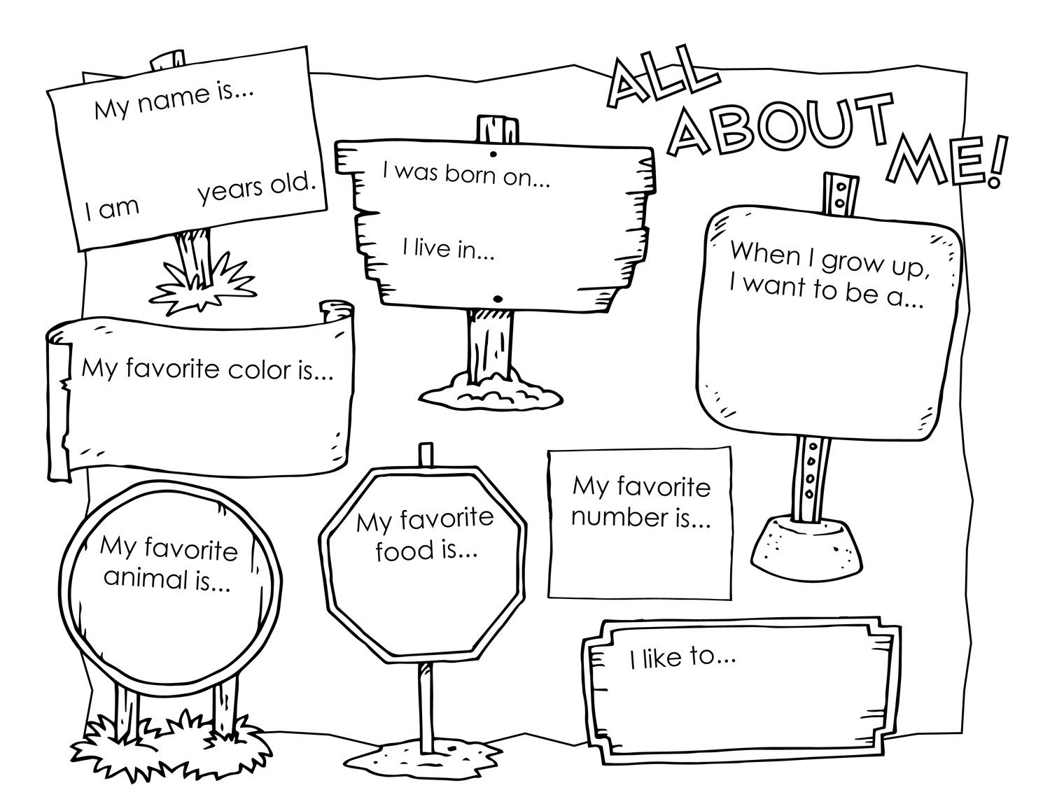 Free All About Me Worksheets