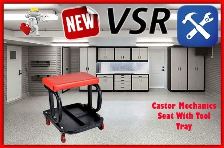Garage rolling creeper seat on wheels tool tray stool