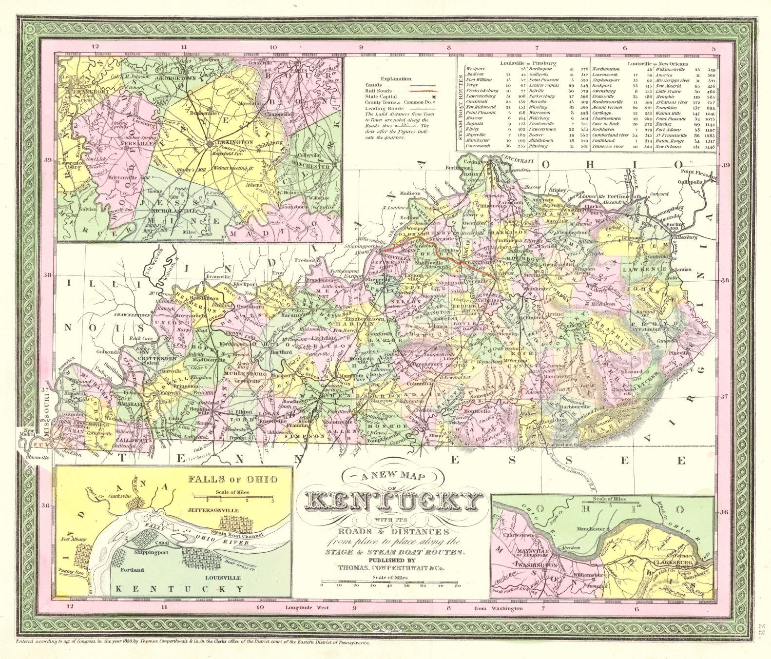 A New Map of Kentucky With Its Roads & Distances from Place to Place ...
