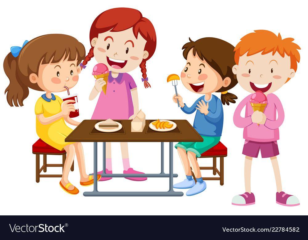 Set Of Children Eating Together Vector Image On Vectorstock In 2020 Vector Free Children Eating Royalty Free