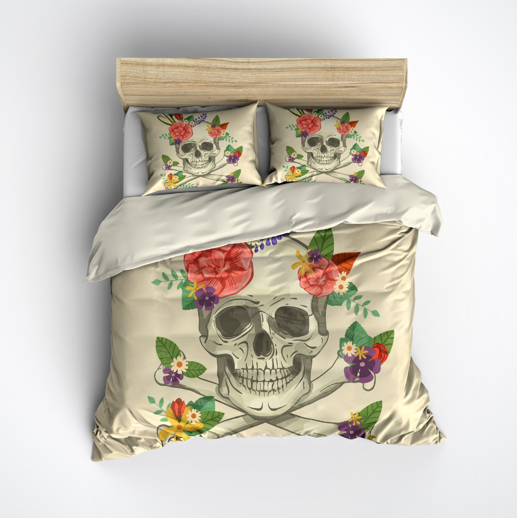 Whimsy Floral Skull and Crossbone Bedding